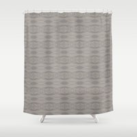 gray pattern Shower Curtains featuring Gray Aztec Pattern by Corbin Henry