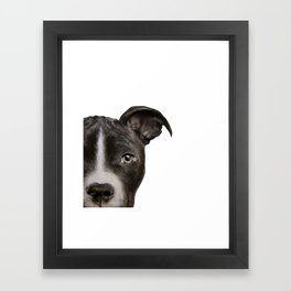 Pitbull Dark brown Dog illustration original painting print Framed Art Print