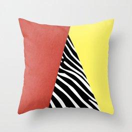 Zebra print geometry Throw Pillow