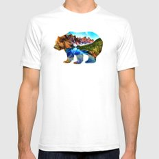 Wander Bear White Mens Fitted Tee LARGE