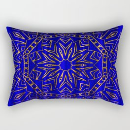 384 Royal Blue Gold Mandala Curtain Rectangular Pillow