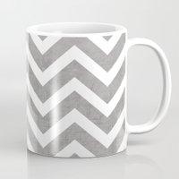 gray Mugs featuring gray chevron by her art