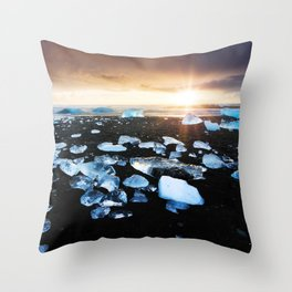 Fire and Ice Black Sand Sunset, Coastal Landscape Photograph Throw Pillow