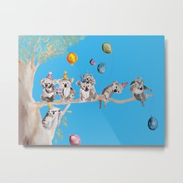 The Koalas Birthday Party - in blue Metal Print