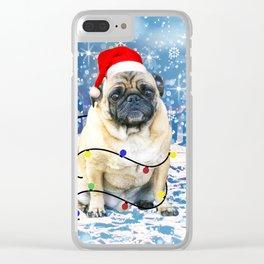 Pug Holidays Christmas Snow Clear iPhone Case