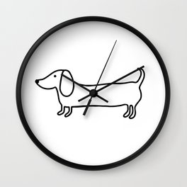 Simple dachshund black drawing Wall Clock