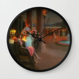 Classical Masterpiece 'Evening on the Terrace' by Delphin Enjolras Wall Clock