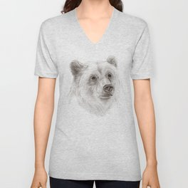 Grizzly :: A North American Brown Bear Unisex V-Neck
