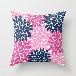 Flower Burst Petals Navy Pink Throw Pillow