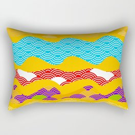 Summer bright pattern  scales simple Nature background with Chinese wave circle pattern Rectangular Pillow