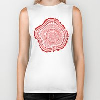 tree rings Biker Tanks featuring Red Tree Rings by Cat Coquillette