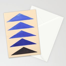 Colorful Blue Geometric Triangle Pattern With Black Accent Stationery Cards