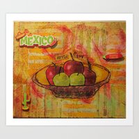 mexico Art Prints featuring mexico by Penny Stone Mixed Media
