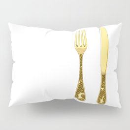 Vintage gold cutlery modern contemporary art illustration Pillow Sham