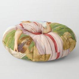 "John William Godward ""The posy"" Floor Pillow"