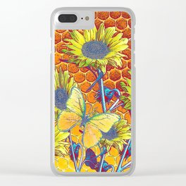 GREY-YELLOW BUTTERFLIES & SUNFLOWERS ARTISTIC HONEYCOMB DRAWING Clear iPhone Case