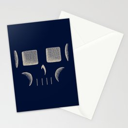 Skull Linework (Tan / Dark Blue) Stationery Cards