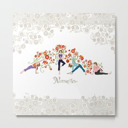 Yoga Girls_Namaste_Poses and Flowers Large scale Metal Print