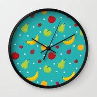 fruits Wall Clocks featuring fruits by Irina Novikova