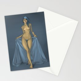 The girl with the blue sheet Stationery Cards