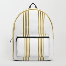 Simply luxury Gold small stripes on clear white - vertical pattern Backpack