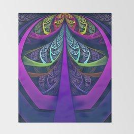 An UltraViolet Black Light Rainbow of Glass Shards Throw Blanket