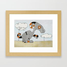 Kangaroo Go-Go Grey Framed Art Print
