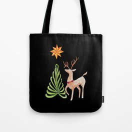 Deer near a tree, gazing at a star Tote Bag