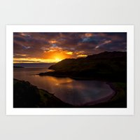 nan lawson Art Prints featuring  Camas nan Geall Sunset Ardnamurchan Scotland by Chris Thaxter