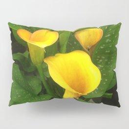 Lavish Yellow Calla Lilies With Lush Leaves Pillow Sham