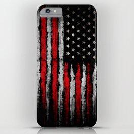 Red & white Grunge American flag iPhone Case