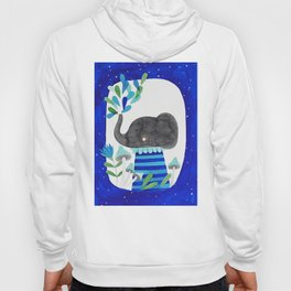 elephant with raindrops in blue watercolor illustration Hoody