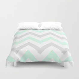 WASHED OUT CHEVRON (MINT & GRAY) Duvet Cover