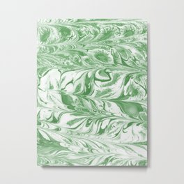 Marble suminagashi spilled ink 2 swirl marbled pattern basic green and white Metal Print