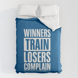 Lab No. 4 - Winners Train Losers Complain Inspirational Quotes poster Comforters