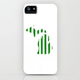 Green and White Michigan iPhone Case