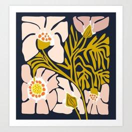 Backyard flower – modern floral illustration Art Print