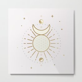 Magical Sun and Moon - tarot illustration Metal Print