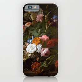 Still Life with Flowers and a Cricket by Rachel Ruysch iPhone Case