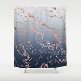 Modern grey navy blue ombre rose gold marble pattern Shower Curtain