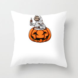 It's Show Time Pumpkin Sloth Funny Halloween Horror Scary Throw Pillow