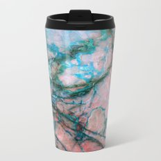 Pink and Blue Marble Metal Travel Mug