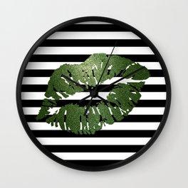 Stripes and Earth Kiss Wall Clock