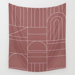 Deco Geometric 04 Dark Pink Wall Tapestry