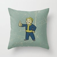 warcraft Throw Pillows featuring Vault Boy - fallout 4 by janeemanoo