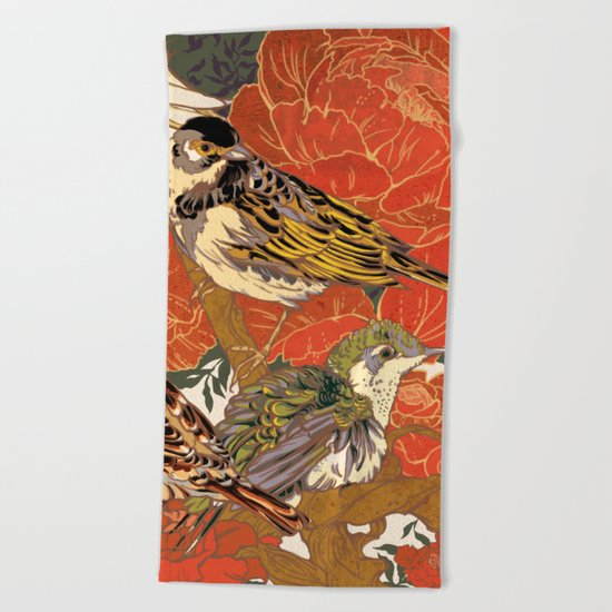 Morning Peonies Beach Towel