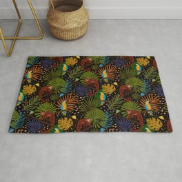 Jungle Pattern with Monkeys, Macaws and colorful Dart Frogs Rug