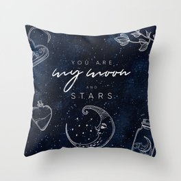 Mysterious Luna #1: You are my Moon and Stars Throw Pillow