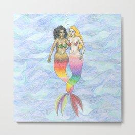 lesbian mermaids Metal Print