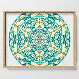 Retro Green Art Nouveau Geometric Mandala Serving Tray